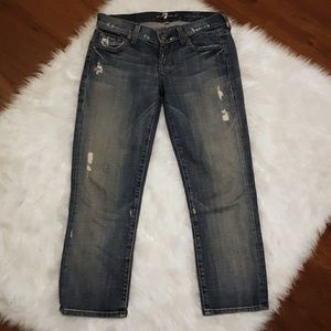 Size 25 7FAM Distressed Crop Straight Leg Jean